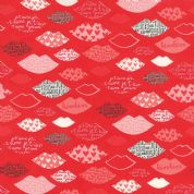 Moda Kiss Kiss by Abi Hall - 4027 - Lip Kisses on Red - 35253 13 - Cotton Fabric